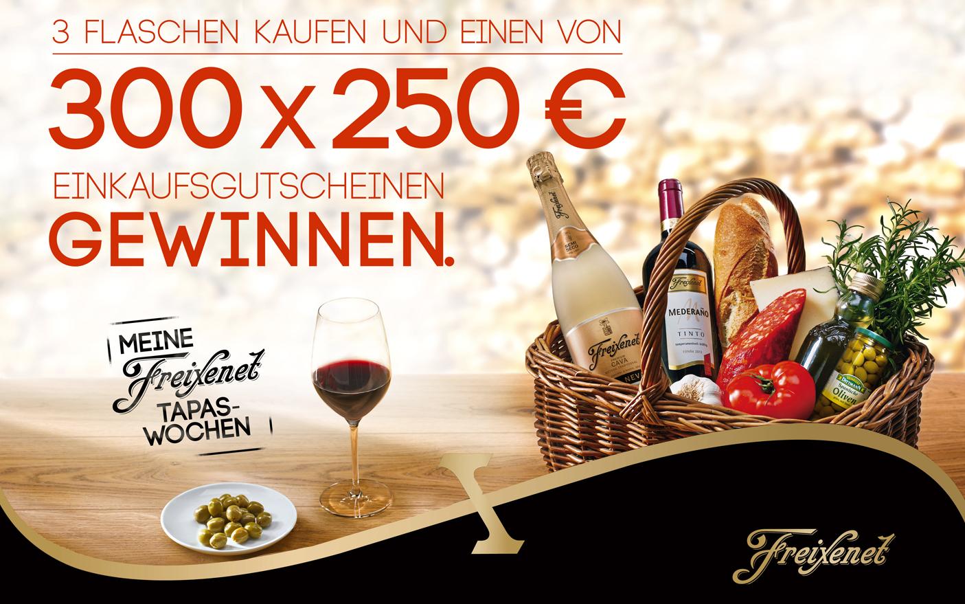 Produktkorb mit Freixenet Wein und Lebensmitteln