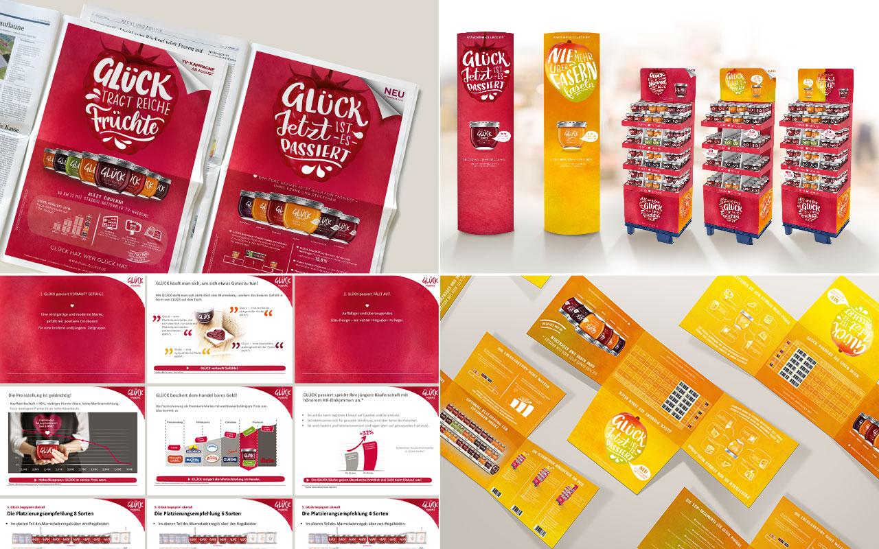Collage aus Glück Werbemittel und Anzeigen