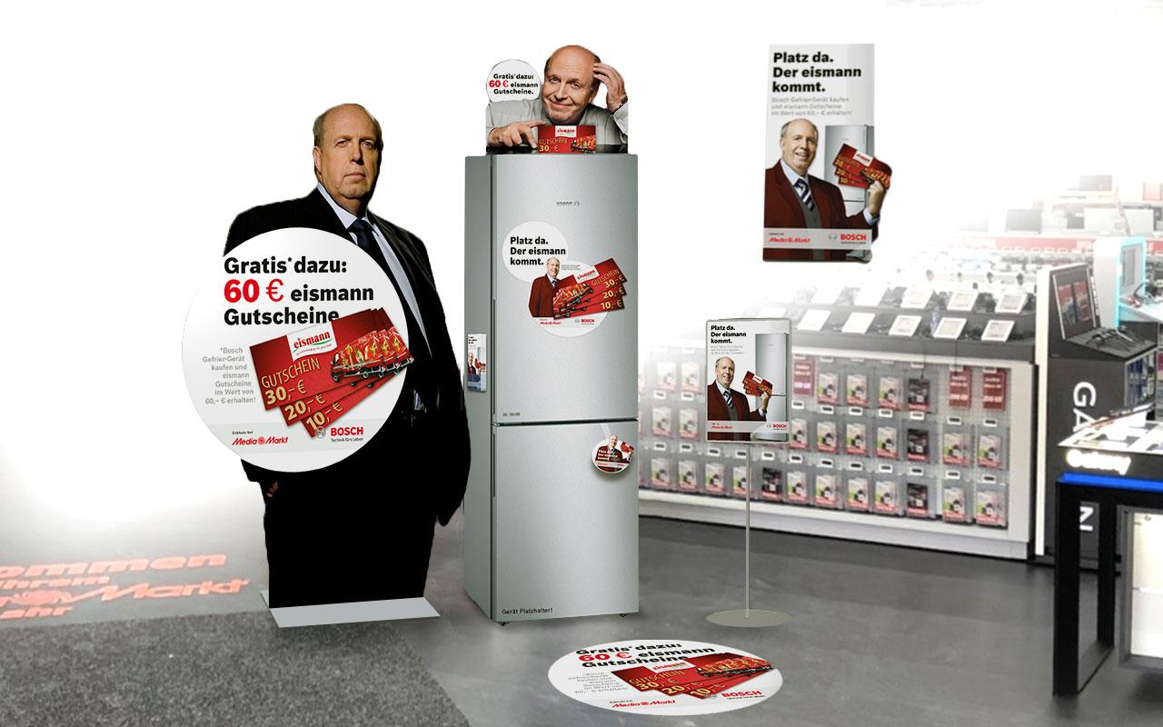 Aktionsfläche mit Reiner Calmund für Bosch und eismann