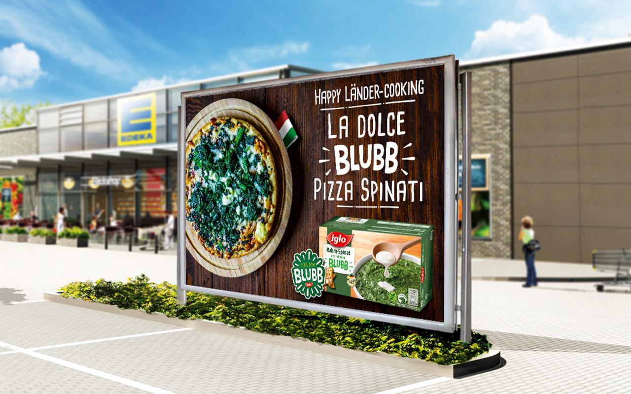 Werbeplakat mit einer Blubb Pizza Spinati von iglo