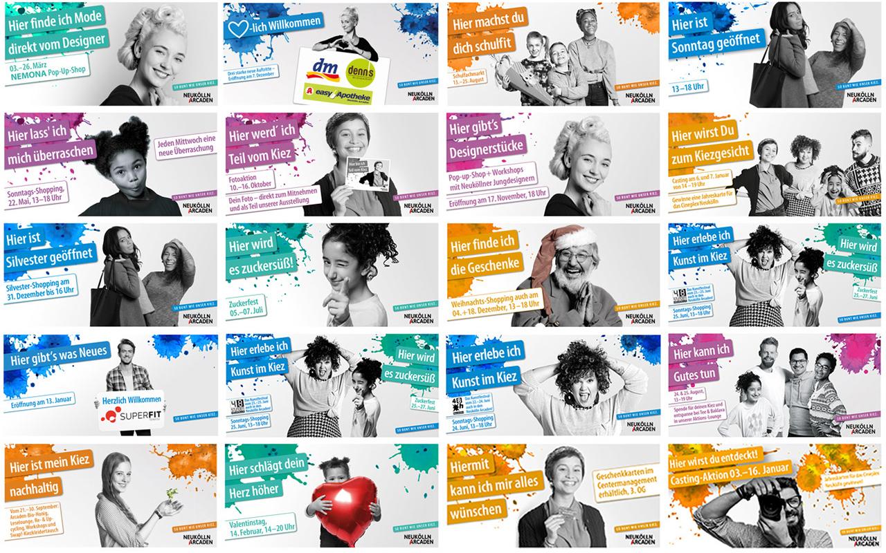 diverse MFI online Anzeigen in bunten Farben