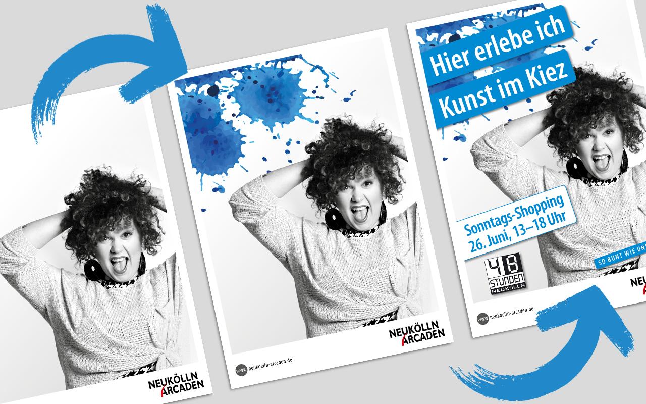 Herleitung eines urbanen MFI Plakatlayout in blau