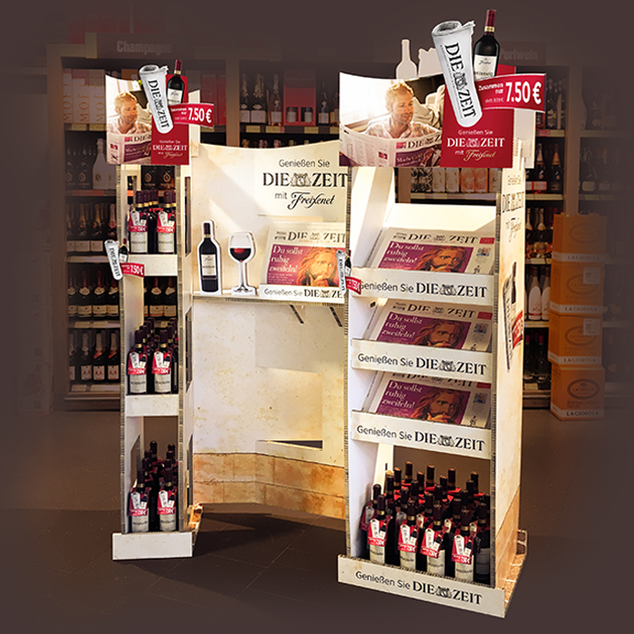 Zeit Display mit Weinflaschen