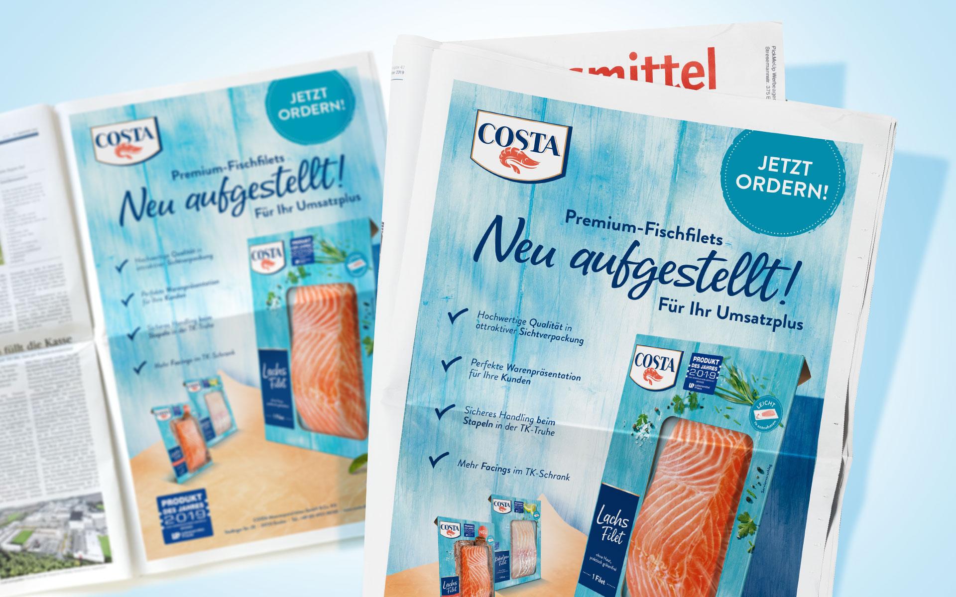 Nahaufnahme Anzeige Costa TK Fisch- und Meeresfrüchte