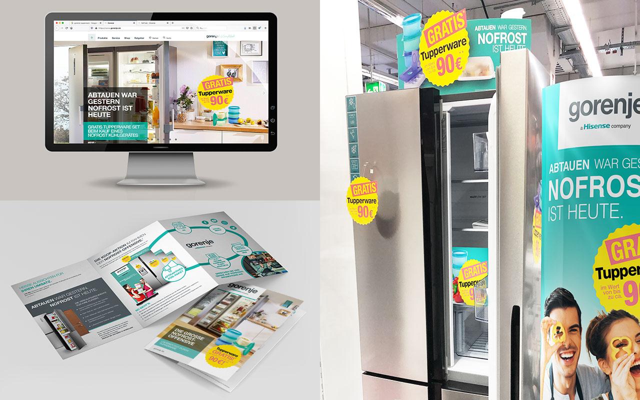Collage aus Werbemitteln einer gorenje + Tupperware Kooperation