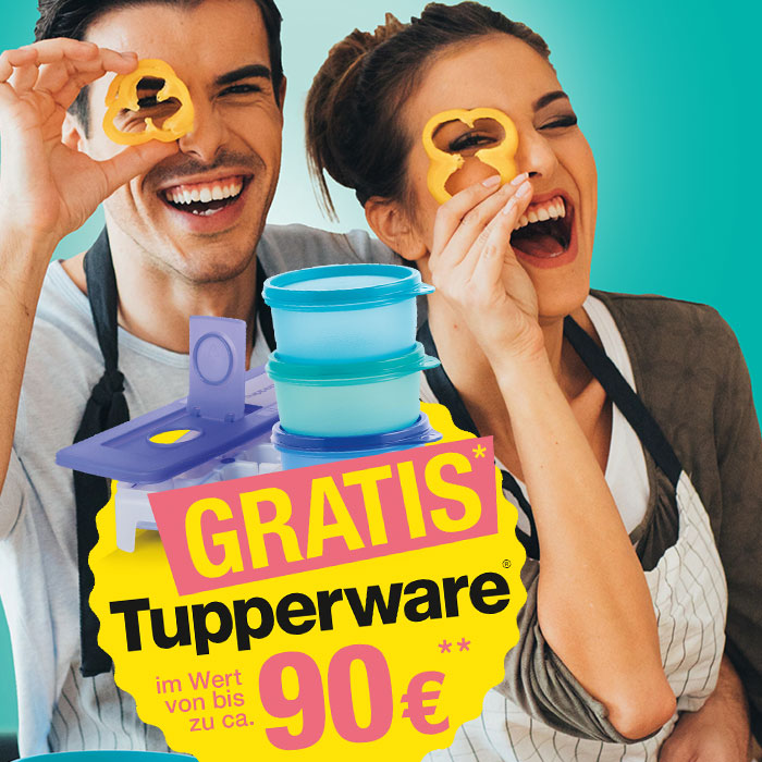Werbeplakat mit einem Mann und einer Frau für Gratis Tupperware